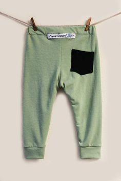 Baby Leggings One Pocket Baby Boy Olive Green by DreamElephant.