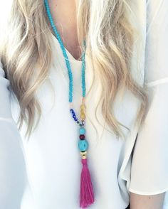 Boho necklace with tassel.
