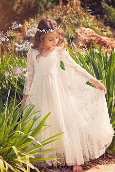 First Communion Dress // Flower Girl White Lace Dress // Boho-chic Girls Dress // Lace dress for girls and toddlers //Boho flower girl dress by Bubale1 on Etsy https://www.etsy.com/listing/386689000/first-communion-dress-flower-girl-white