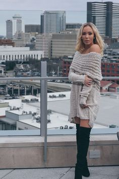 Oatmeal and tan off the shoulder sweater - Unlined - Can be worn as a sweater dress with a liner underneath - Cotton, Polyester - Imported Comfy Dresses, Cute Summer Dresses, Dresses For Teens, Modest Dresses, Cute Dresses, Cute Cheap Outfits, Stylish Outfits, Fall Outfits, Fashion Outfits