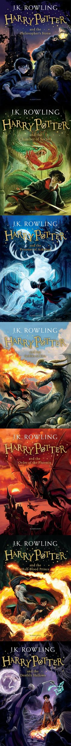 "The new ""Harry Potter"" covers are here! Harry looks the same in the 1st and the last"