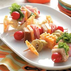 Lunch on a Stick for kids!  These skewers are so fun and easy to put together.  Let kids help you the night before.