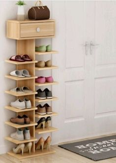 38 Best Simple DIY Shoe Racks You'll Want To Make - flippedcase Shoe Storage Design, Diy Shoe Storage, Diy Shoe Rack, Hidden Storage, Shoe Racks, Diy Para A Casa, Diy Rangement, Decorating Small Spaces, Shoe Storage Ideas For Small Spaces