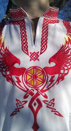 Купить Мужская рубаха Щит Перуна - белый, русский стиль, Вышивка гладью, перун, перуница