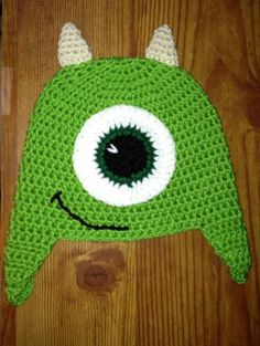 "Mike Wazowski Hat ""Monsters Inc."" ""Monsters University"" ""Earflap"" ""Crochet"" Sizes Newborn-Large Adult"
