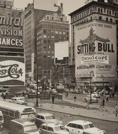 Times Square 1954 Sitting Bull Billboard New York City Vintage by Christian Montone Sitting Bull, Old Pictures, Old Photos, Vintage Photos, Vintage New York, Fosse Commune, New York City, Photo New York, Cities