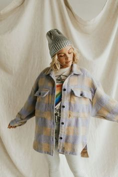 Flannel Jacket, Knit Jacket, Quilted Jacket, Plaid Flannel, Flannel Shirt, Clothing Tags, Clothing Co, Oversized Flannel, Color Block Sweater