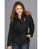 U.S. Polo Assn - Belted Puffer with Faux Fur Hood