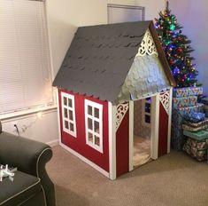 comment faire une cabane en carton carton-colorée-toit-artisanal #catsdiykids