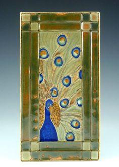 Handmade ceramic tile of Elegant Peacock