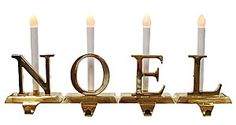 Brass Christmas Stocking Holders with LED Candles N-O-E-L