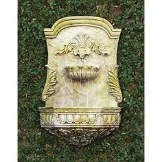 "Scroll 28 1/2"" High White Moss Outdoor Wall Fountain - #22V13 