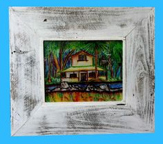 Reclaimed wood picture frame...Cottage Chic Rustic by WGilroy