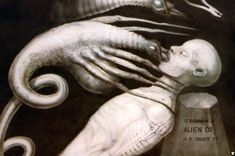 """H.R. Giger is another artist who made excellent use of biological composites to craft horrors that chase us into our nightmares. The Xenomorphs of """"Aliens"""" - and their nasty little face-hugging offspring - are some of his most memorable creations."""