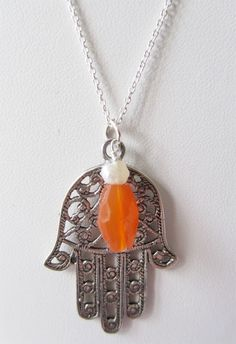Sterling Silver Hamsa and Carnelian Chain  Available at: www.oncefound.co.uk