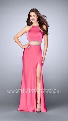 La Femme 23828 Hot Pink Side Split Long Prom Dresses For Juniors
