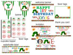 Very Hungry Caterpillar Birthday Party Package by WittyParties, $18.00
