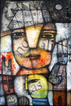 Dan Casado  THE NIGHT  original, acrylic and collage on stretched canvas