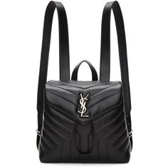Saint Laurent Black Small Monogram Loulou Backpack (€1.500) ❤ liked on Polyvore featuring bags, backpacks, black, drawstring backpacks, drawstring bag, monogrammed backpacks, logo backpack and monogrammed bags