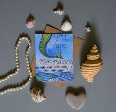 Mermaid Card  Handmade Birthday Blank Cards by SevenSeasStudios
