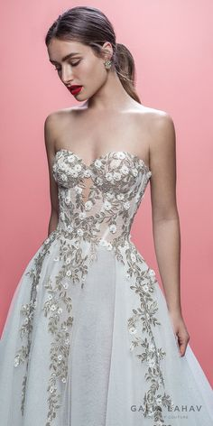"galia lahav spring 2019 bridal strapless sweetheart neckline heavily embellished bodice romantic pretty a line wedding dress royal train (aelin) zv -- Galia Lahav Spring 2019 ""Queen of Hearts"" Bridal Collection"