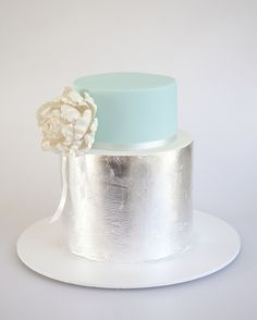 Turquoise & Silver Leaf wedding cake