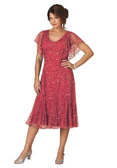 Roaman's / $110 / Plus Size Flutter Sleeve Sequin Dress / color is antique strawberry / (NOT IN MY SIZE) / Item #: 0503-21828-1037