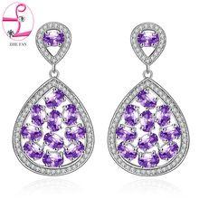 ZHE FAN Women Piercing Dangle Earrings AAA CZ Cubic Zirconia Micro Pave Water Drop Earring Jewelry Purple Green Royal Blue //FREE Shipping Worldwide //
