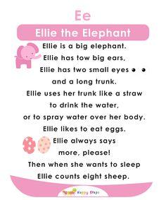 Ellie the Elephant Alphabet Stories Small Stories For Kids, English Stories For Kids, Moral Stories For Kids, Kids English, English Reading, Reading Comprehension For Kids, Phonics Reading, Reading Passages, Kids Reading