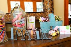 chalk with ribbon party favors, cute idea