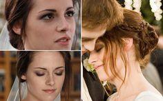 O casamento  Detalhe do make (um esfumado marrom bem leve e cílios bem definidos) e do penteado de casamento da Bella. O cabelo com a trança lateral que envolve o coque é lindo e super usável!