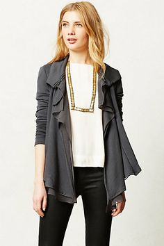 Like: zipper & ruffle details and neutral color of cardigan, would be cute paired with colorful top and white skinnies Dislike: pleather jeggings