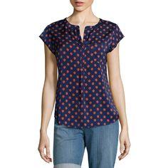 Liz Claiborne Cap-Sleeve Popover Shirt, Multicolor (Size: Medium) -... (24 AUD) ❤ liked on Polyvore featuring tops, blouses, cap sleeve blouses, multi color shirt, blue blouse, pocket shirts and multicolor shirt