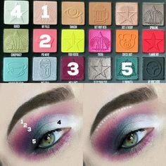 Eye Makeup Steps, Makeup Eye Looks, Eye Makeup Art, Eyeshadow Makeup, Makeup Eyes, Jeffree Star Eyeshadow, Jeffree Star Palette, Creative Eye Makeup, Colorful Eye Makeup