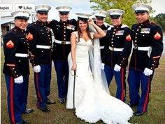 I love this <3 She must feel super safe lol If I marry a marine I'm gonna have a gorgeous Wedding  lol
