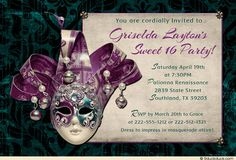 Sweet 16 Magical Night Invitation - Personalize these teal & purple colors to suit your own party colors, including the mask graphic & all of the text.