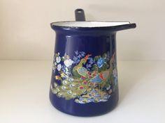 Turkish Coffee Pot, Vintage Enamelware, Milk Ladle, Butter Warmer, Chocolate Melting Pot, Blue Enamel Pot, Retro Kitchen Decor Turkish Decor