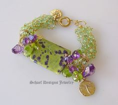 Stitchtite amethyst peridot & 24kt Gold Vermeil bracelet | Schaef Designs artisan handcrafted gemstone Jewelry | upscale online jewelry gallery boutique | San Diego, CA
