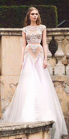 "persy 2016 cap sleeves jewel neck crop top lace beaded skirt two piece wedding dress (iris) zv sheer bodice bohemian romantic -- Persy 2016 ""Le Jardin"" Wedding Dresses Two Piece Wedding Dress, Best Wedding Dresses, Bridal Dresses, Wedding Gowns, Wedding Skirt, Dresses Elegant, Nice Dresses, Looks Party, Fashion Vestidos"