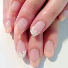 Peach and white flower french tips  Great for wedding nails