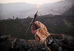 The scavengers often work with rudimentary tools and in extremely unsafe conditions.      http://www.businessinsider.com/photos-indias-illegal-coal-mines-2012-10#