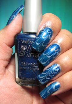 My Simple Little Pleasures: NOTD: Blue & Blue Water Marble See the tutorial:  http://youtu.be/NTApx0hdE08
