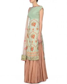 Mint Green Kurta and Skirt Set with Floral Prints - Anju Modi - Designers