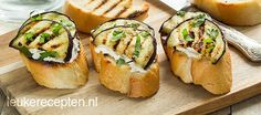 Heerlijke bruschetta met ricotta en gegrilde aubergine