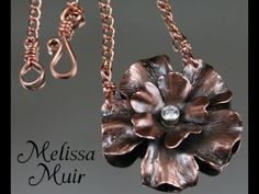 Making a Copper Flower Pendant - From Start to Finish. Melissa Muir, Jewelry artist and Teacher, takes you through the process of making a beautiful flower pendant from sheet metal to finished necklace. Jewelry Tools, Copper Jewelry, Wire Jewelry, Pendant Jewelry, Jewelry Crafts, Jewelry Art, Handmade Jewelry, Jewelry Design, Soldering Jewelry