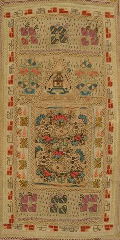 """Composite Prayer Arch - Ottoman Empire, early 20th c., linen, embroidered with silk and metallic thread., very good condition, 30"""" x 48"""""""