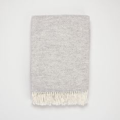 Grey wool blanket | Herringbone grey wool throw