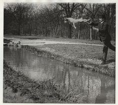 Photographies de Jacques Henri Lartigue.  Monsieur Folletête, secrétaire de Papa et son chien Tupy, Bois de Boulogne, Paris, mars 1912.
