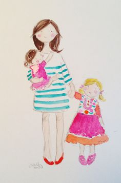 Custom watercolors. Moms, daughters, sisters, friends. Artist won't draw men or boys.