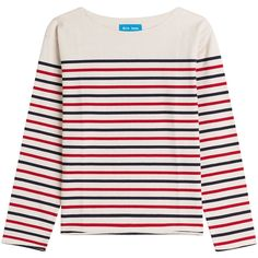 MiH Jeans Striped Cotton Top (€120) ❤ liked on Polyvore featuring tops, stripes, stripe top, slimming tops, round neck top and striped top